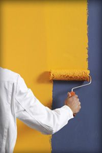 decorator with yellow roller
